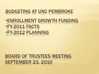 Board of trustees Meeting September 23, 2010