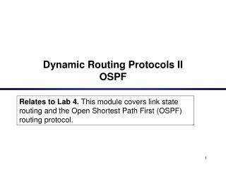 Dynamic Routing Protocols II OSPF