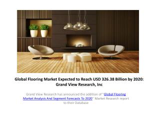 Global Flooring Market to 2020–Grand View Research,Inc