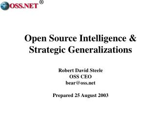 Open Source Intelligence & Strategic Generalizations