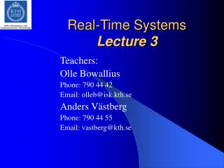 Real-Time Systems Lecture 3