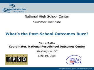 National High School Center Summer Institute What's the Post-School Outcomes Buzz? Jane Falls