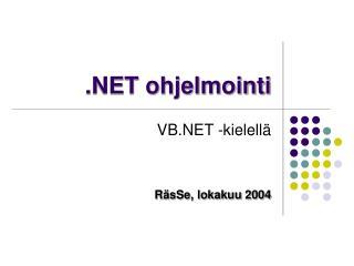 .NET ohjelmointi