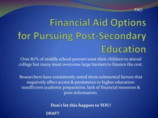 Financial Aid Options for Pursuing Post-Secondary Education