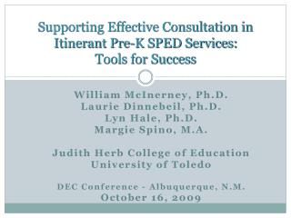 Supporting Effective Consultation in Itinerant Pre-K SPED Services:  Tools for Success