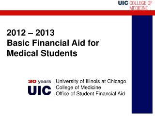 2012 – 2013  Basic Financial Aid for Medical Students