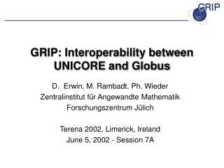 GRIP: Interoperability between UNICORE and Globus