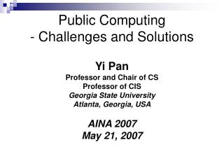 Public Computing  - Challenges and Solutions