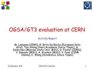 OGSA/GT3 evaluation at CERN