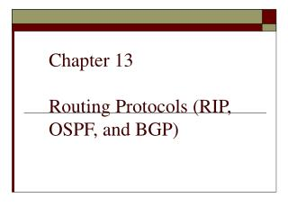 Chapter 13 Routing Protocols (RIP, OSPF, and BGP)
