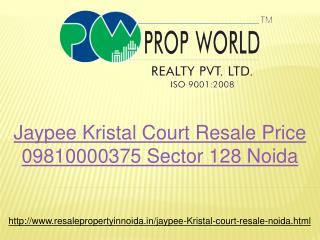Jaypee Kristal Court Resale Price 09810000375 Sector 128 Noi