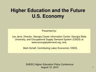Higher Education and the Future U.S. Economy