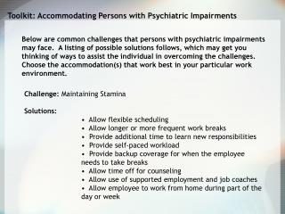 Toolkit: Accommodating Persons with Psychiatric Impairments