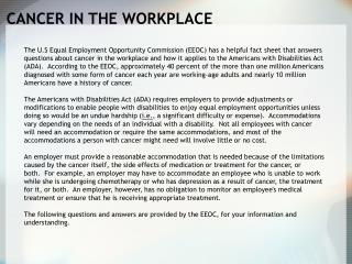 CANCER IN THE WORKPLACE
