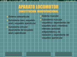 APARATO LOCOMOTOR CONSTITUCION  MORFOFUNCIONAL