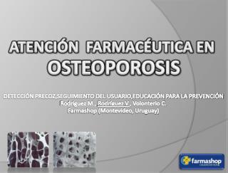 ATENCIÓN  FARMACÉUTICA EN OSTEOPOROSIS