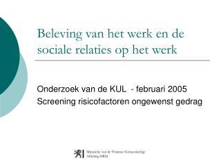 Beleving van het werk en de sociale relaties op het werk