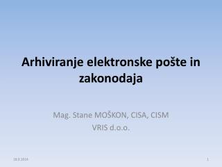 Arhiviranje elektronske pošte in zakonodaja