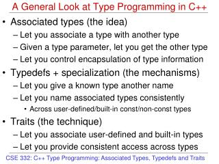 A General Look at Type Programming in C++