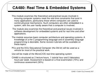 CA480: Real Time & Embedded Systems