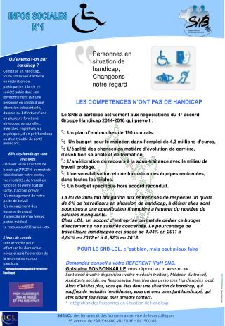 Qu�entend t-on par handicap ? Constitue un handicap, toute limitation d�activit� ou restriction de