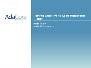 Porting GNATPro to Lego Mindstorm NXT