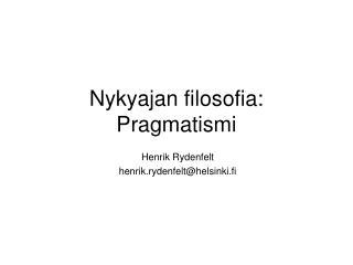 Nykyajan filosofia: Pragmatismi