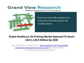 Healthcare 3D Printing Market Forecasts 2014 to 2020