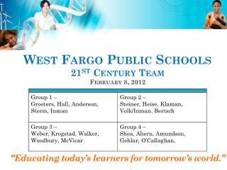 West Fargo Public Schools  21 st  Century Team February  8,  2012