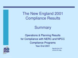 The New England 2001 Compliance Results Summary