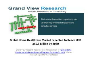 Home Healthcare Market Size to 2020:Grand View Research,Inc