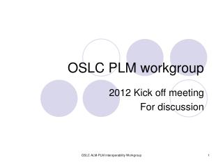 OSLC PLM workgroup