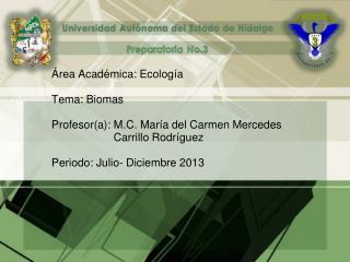 Área Académica: Ecología Tema: Biomas Profesor(a): M.C. María del Carmen Mercedes