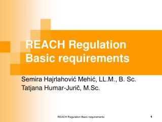 REACH Regulation Basic requirements