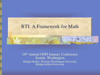 RTI: A Framework for Math