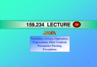 159.234 LECTURE