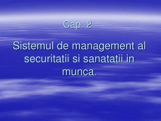 Sistemul de management al securitatii si sanatatii in munca.