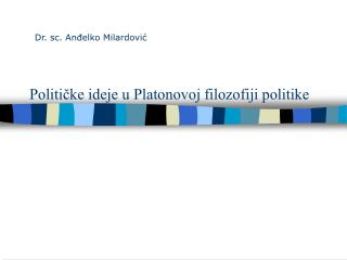 Političke ideje u Platonovoj filozofiji politike
