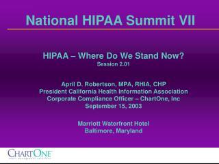 National HIPAA Summit VII