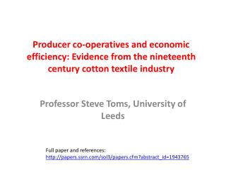 Professor Steve Toms, University of Leeds
