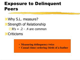 Exposure to Delinquent Peers