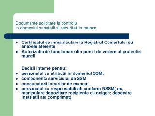 Documente solicitate la controlul in domeniul sanatatii si securitati in munca