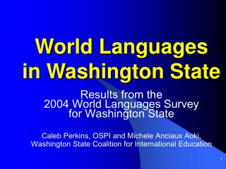 World Languages  in Washington State