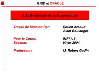 GRID  et  ORACLE