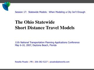 The Ohio Statewide Short Distance Travel Models