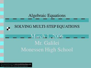 March 1, 2006 Mr. Galilei Monessen High School