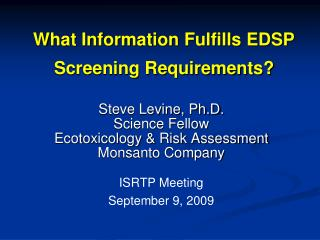 What Information Fulfills EDSP Screening Requirements?