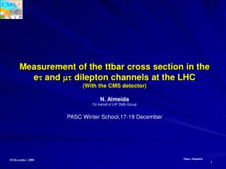 Measurement of the  ttbar  cross section in the e t and mt dilepton chan nels  at the LHC