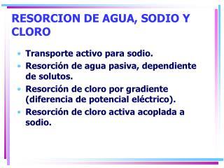 RESORCION DE AGUA, SODIO Y CLORO