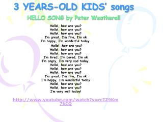 3 YEARS-OLD KIDS' songs HELLO SONG by Peter Weatherall